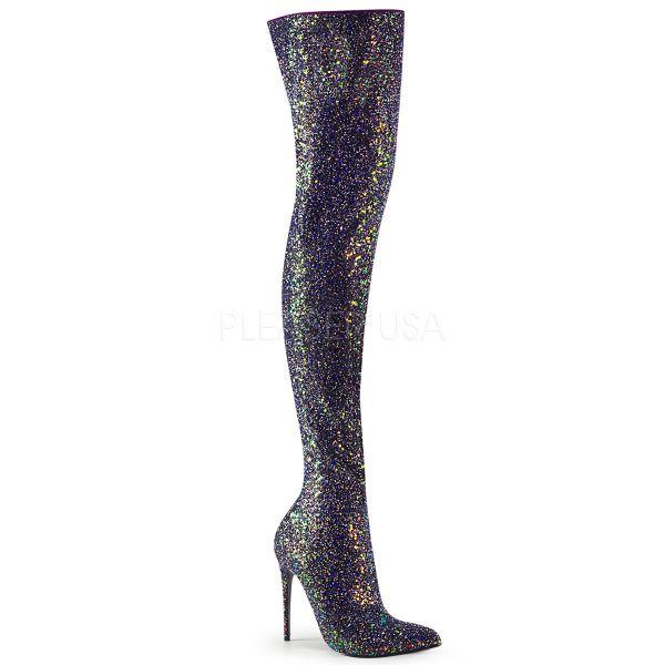 High Heel Overknee Stiefel COURTLY-3015 schwarz Multi Glitter